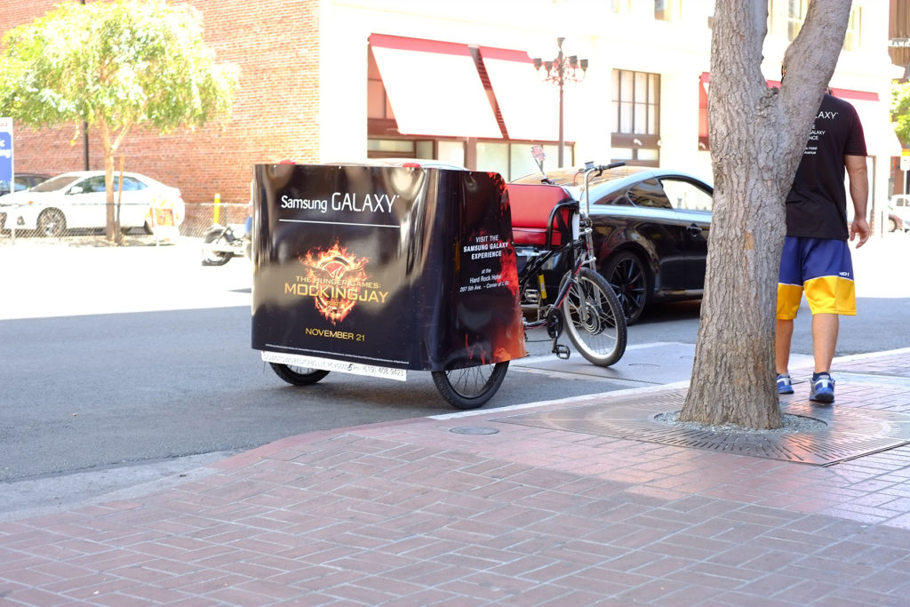 Parked pedicab on the street