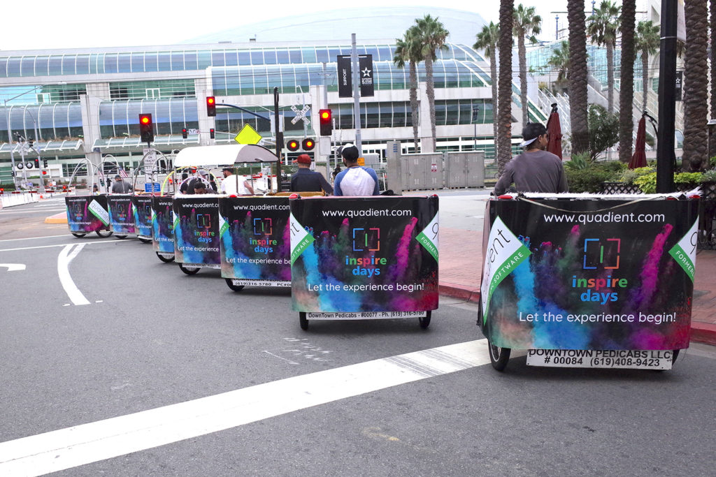 Pedicabs in the front of the San Diego Convention Center