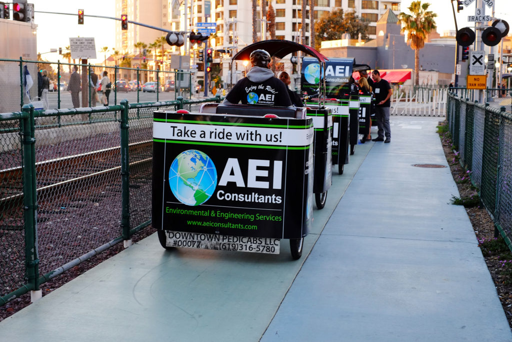 AEI branded san diego pedicabs