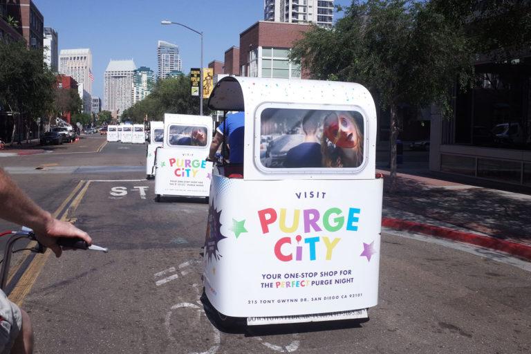 Purge City branded San Diego pedicab