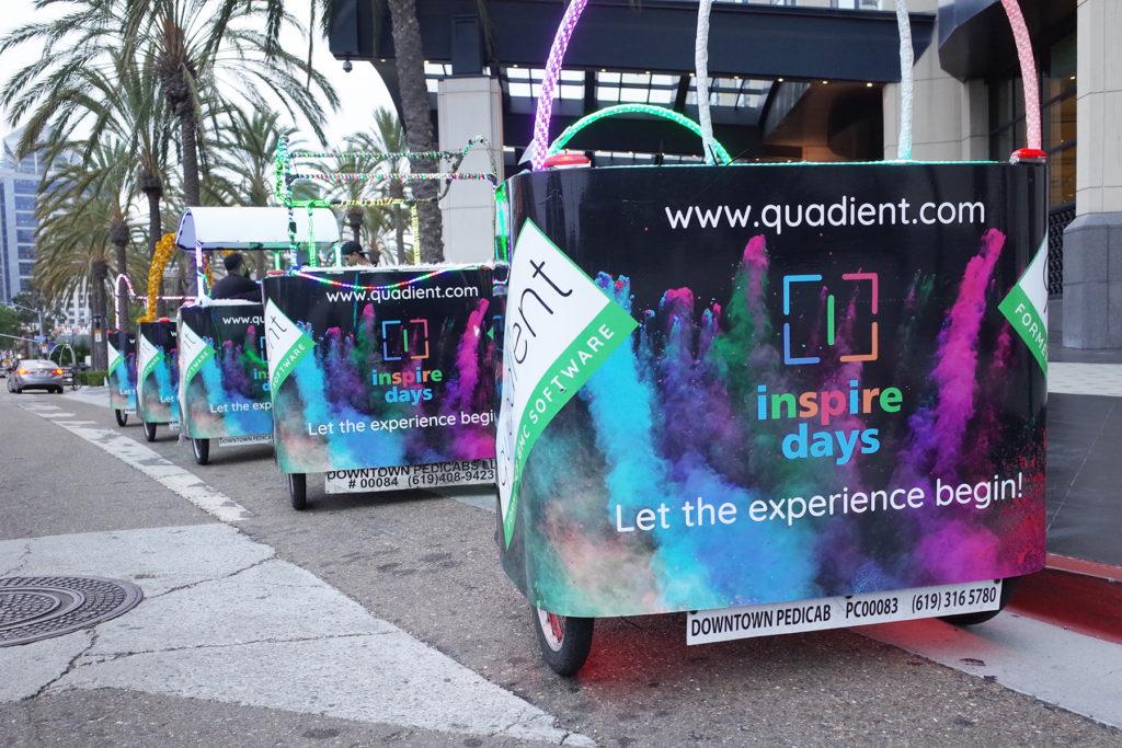 Quadient branded pedicabs San Diego
