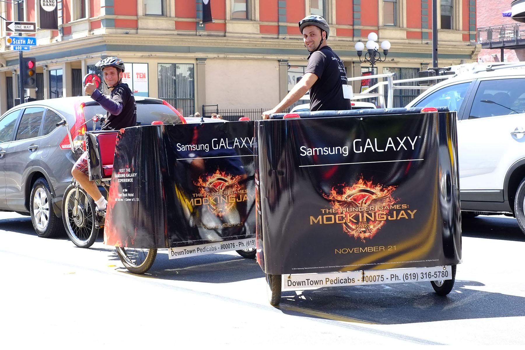 Samsung Galaxy branded pedicabs