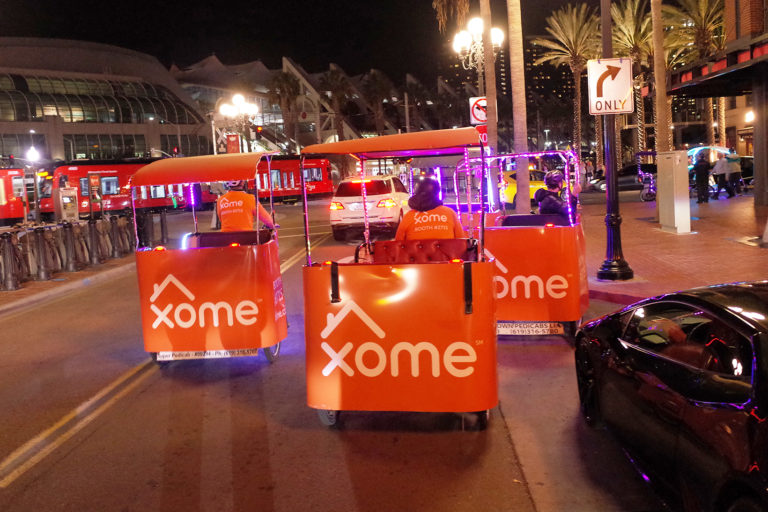 Xome branded san diego pedicabs
