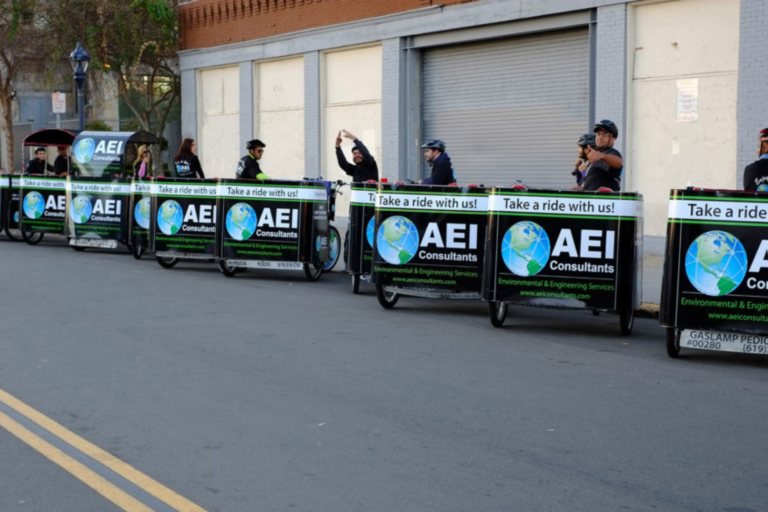 AEI branded pedicabs