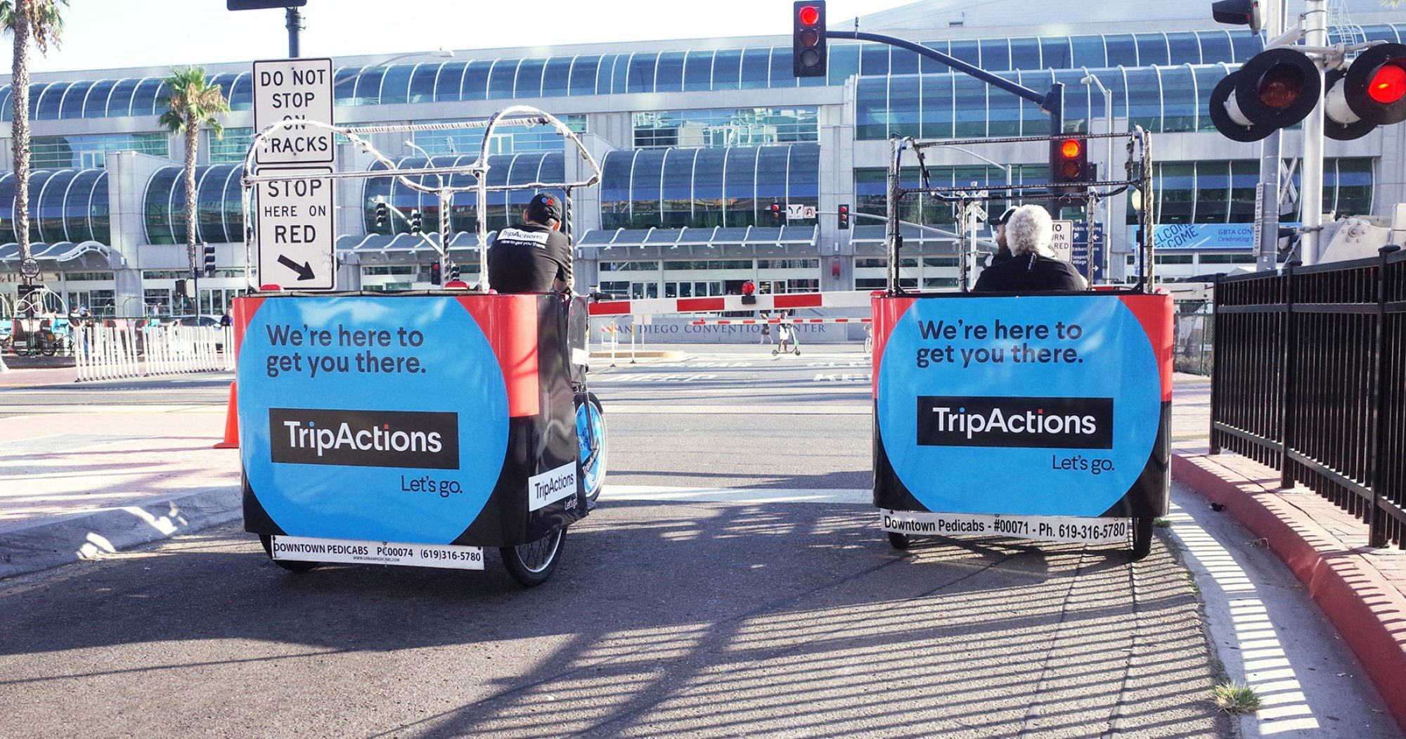 San Diego pedicab Convention Center advertising