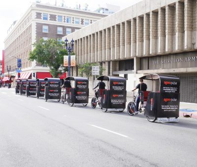 Agora Pulse branded san diego pedicabs